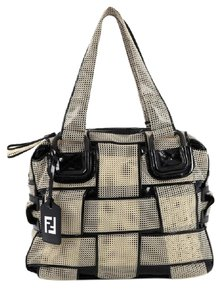 Fendi Mesh Leather Satchel in Beige