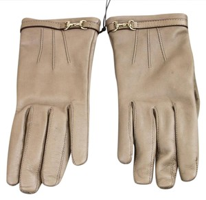 Gucci NEW Authentic GUCCI Leather Gloves w/Horsebit Detail 7 Tan 245927