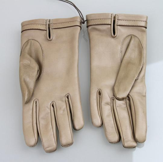 Gucci NEW Authentic GUCCI Leather Gloves w/Horsebit Detail 7 Tan 245927 Image 1
