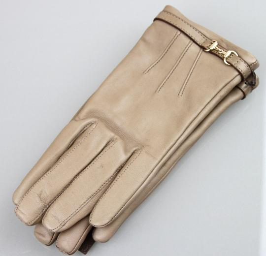 Gucci NEW Authentic GUCCI Leather Gloves w/Horsebit Detail 7 Tan 245927 Image 2