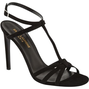 Saint Laurent Ysl Jane Ankle Strap Strap Black Sandals