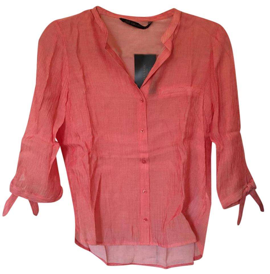 e70860ed729d83 Zara Coral White. Unknown Button-down Top Size 0 (XS) - Tradesy
