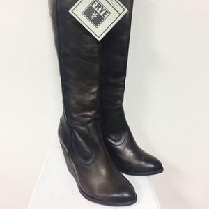 Frye Wedge Knee High Distressed brown leather Boots