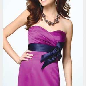 Alfred Angelo Violet Satin Knee Length Dress