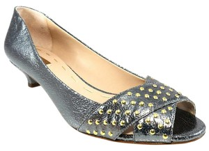 La Fenice Leather Peep Toe Studded Silver Metallic Pumps
