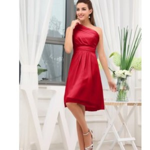 Cherry Red One Shoulder A-line Dress
