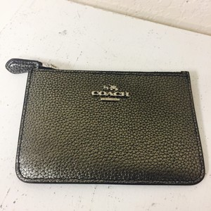 Coach Pebbled Coach Pewter Card Case