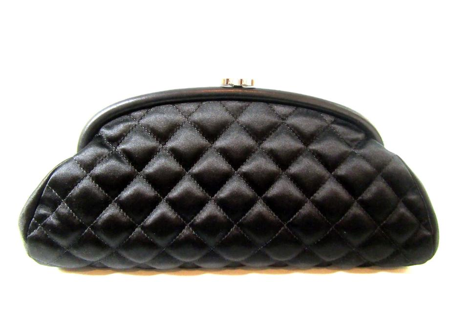 ea54896cbeb6 Chanel Timeless Quilted Silver Cc Clasp On Top Mint Black Satin Clutch