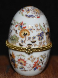 Multi Color Porcelain Party Gift Hand Painted Egg Shaped Trinket Box Fs Vintage Bridesmaid/Mob Dress Size OS (one size)