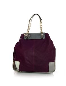 Lanvin Leather Silver Tote in Raspberry