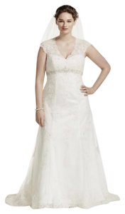 David's Bridal Cap Sleeve Lace Over Satin Plus Size Wedding Dress Wedding Dress