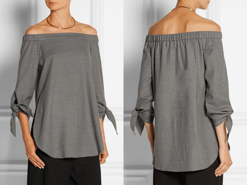 a123b8c86f49e Tibi Gray Off The Shoulder Stretch Virgin Wool Tie Tunic Blouse Size ...
