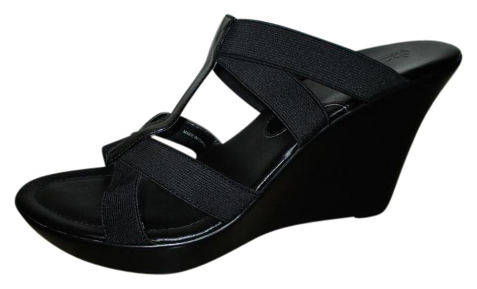 08a97f061fea6d Charles by Charles David Black Wedge Sandals Size US 10 Regular (M ...