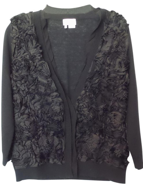 Preload https://img-static.tradesy.com/item/20708798/kate-spade-black-rosette-applique-lightweight-wool-cashmere-sweater-cardigan-size-6-s-0-1-650-650.jpg