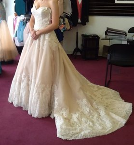 Mori Lee Ivory/Blush/Champagne Lace/Tulle Style #2674 Formal Wedding Dress Size 6 (S)