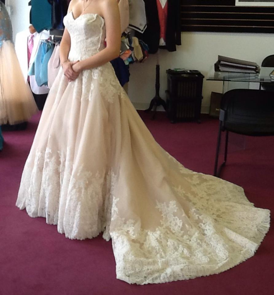 Mori Lee Ivory/Blush/Champagne Lace/Tulle Style #2674 Formal Wedding Dress  ...