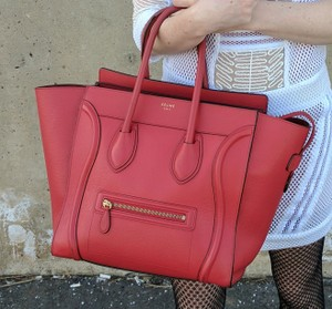 Céline Mini Luggage Leather Pebbled Tote in Red