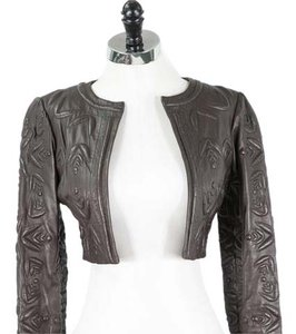 Catherine Malandrino Leather Quilted Cropped Brown Leather Jacket