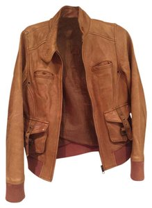 Lucky Brand Leather Front Motorcycle Tan Jacket
