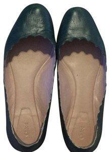Chloé Hunter Leather Green Flats