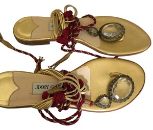 Jimmy Choo Red and Gold Sandals