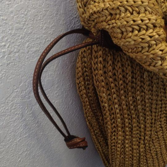 Made in Italy straw and leather Unisex. Hobo Bag Image 2