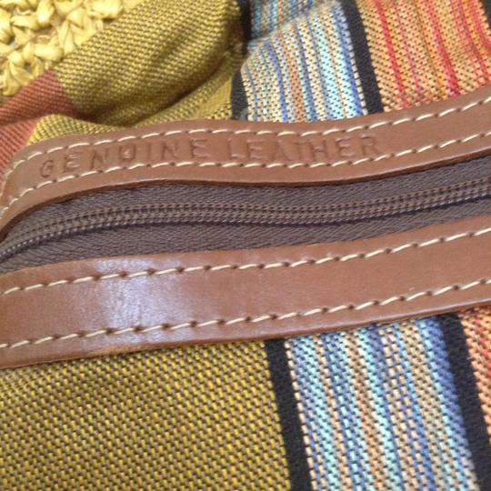Made in Italy straw and leather Unisex. Hobo Bag Image 4