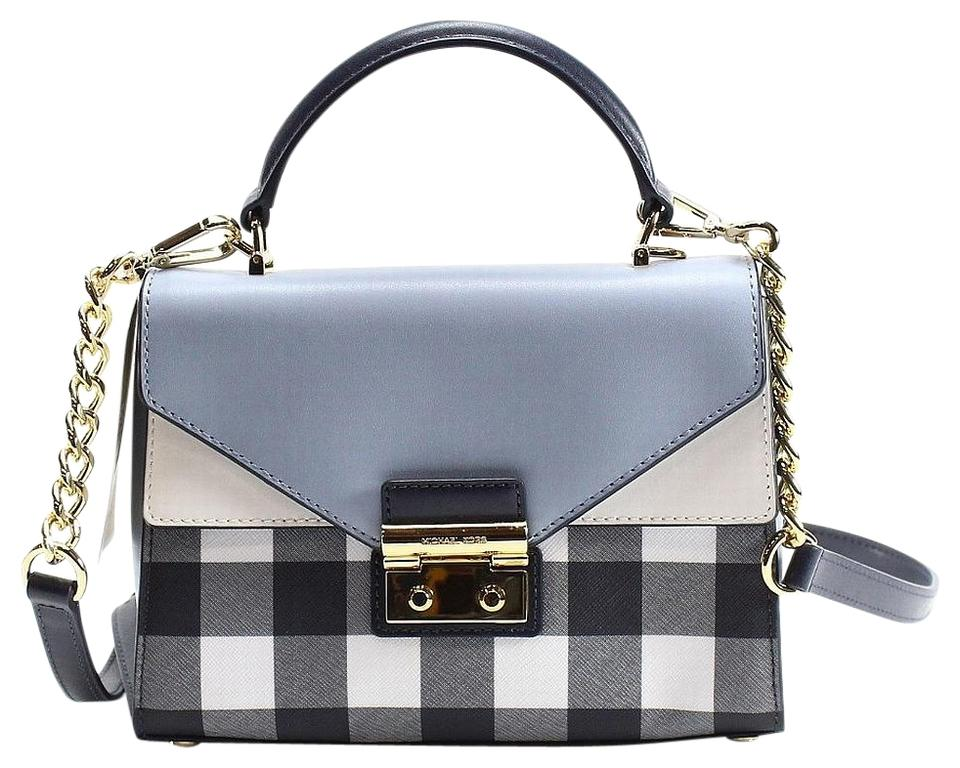 e2a07da8cd Michael Kors Sloan Gingham Small Top Handle Blue White Saffiano Leather  Satchel