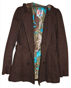 Roxy Pockets Buttons Hooded Pea Coat