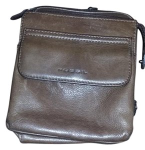 Fossil Leather Monogram Roomy Outer Stiching Adjustable Cross Body Bag