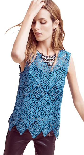 Preload https://img-static.tradesy.com/item/20709476/anthropologie-teal-blue-lacework-shell-by-deletta-in-new-with-tags-medium-tank-topcami-size-8-m-0-1-650-650.jpg