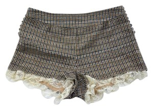 Willow & Clay Office Business Tweed Lace Dress Shorts Brown
