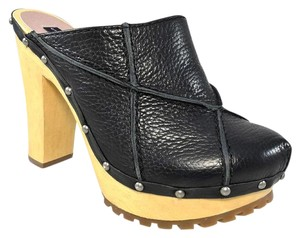 Steven by Steve Madden Leather Platform black Mules