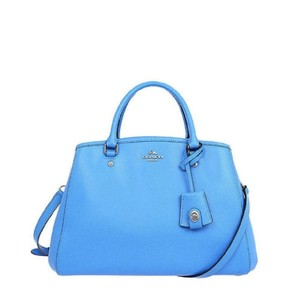 Coach Crossbody Carryall Leather Blue Bright Satchel in Azure Blue