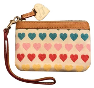 Dooney & Bourke Wristlet in White with multicolor hearts