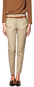 Zara Cropped Ankle Capri Office Khaki/Chino Pants Brown