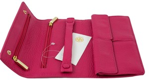 Tory Burch Jewelry Landon Leather Carnation Red (pink) Clutch