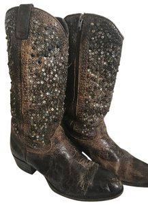 Frye Studded Leather Western Copper Silver Brown Boots