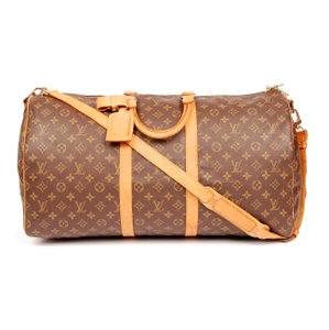 Louis Vuitton Keepall 55 Monogram Canvas Bandouliere Brown Travel Bag