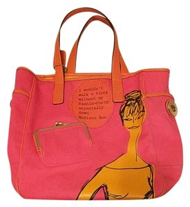 Coach Tote in Fuschia with orange trim