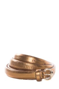 Gucci Bronze Metallic Leather Skinny Belt With Buckle Closure