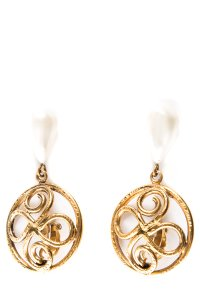 Chanel Gold Gold-Tone Clip-On Drop Earrings With Faux Pearls