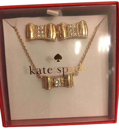 Preload https://img-static.tradesy.com/item/20709921/kate-spade-gold-plated-moon-river-bow-stud-earrings-and-necklace-boxed-set-0-4-540-540.jpg