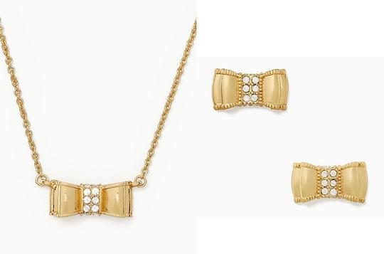 Kate Spade Gold plated Moon River gold Bow Stud Earrings And Necklace Boxed set Image 1