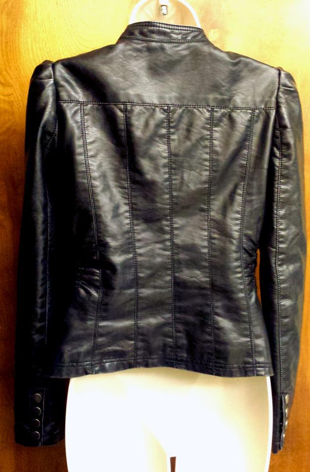 Xhilaration Black Fitted Zipper Faux Ruched Motorcycle Jacket Size 8