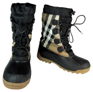 Burberry Leather Nova Black Midcalf Snow Boots