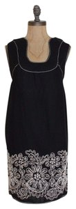 Max Studio short dress BLACK Linen Blend Embroidered Shift Floral on Tradesy