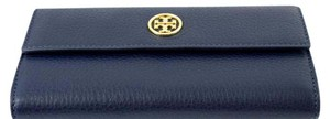 Tory Burch Jewelry Landon Leather Navy Clutch