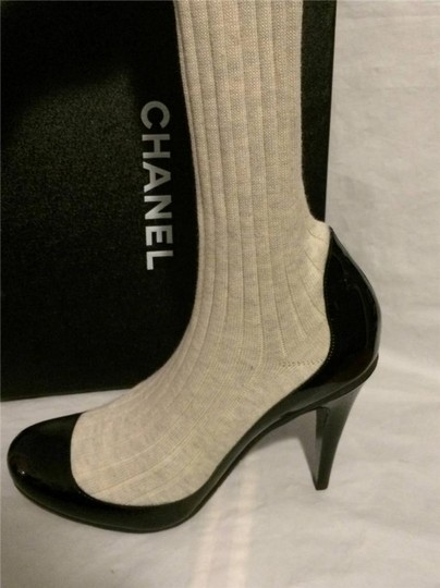 Chanel Patent Leather Sock Black Boots