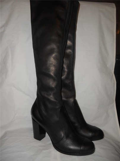 Chanel Cc Stretch Lambskin Black Boots Image 1